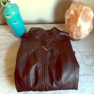 Black polyester leather jacket